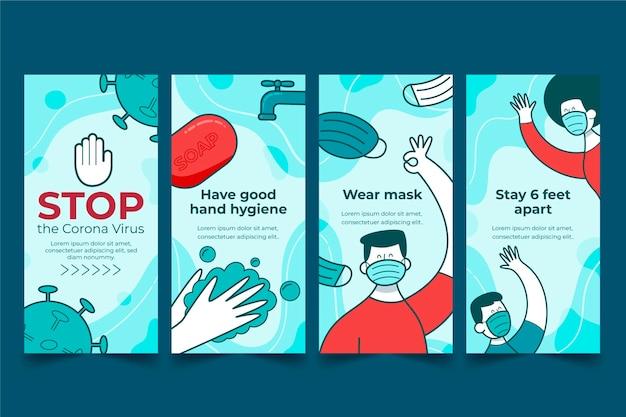 Set di storie instagram piatto organico coronavirus
