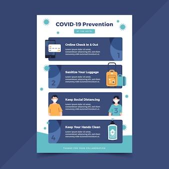 호텔 용 유기 평면 코로나 바이러스 예방 포스터