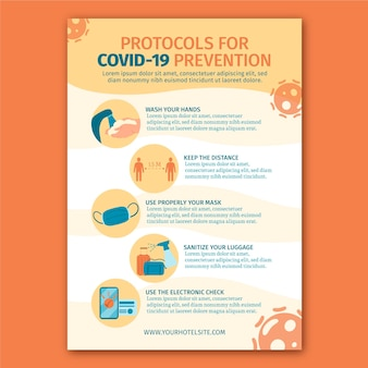 Organic flat coronavirus prevention poster for hotels