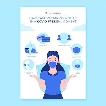 호텔을위한 유기 평면 코로나 바이러스 예방 포스터 템플릿