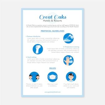 Modello di poster per la prevenzione del coronavirus piatto organico per hotel