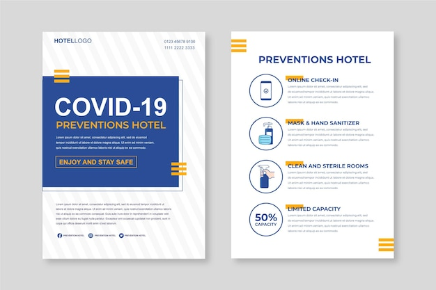 Organic flat coronavirus prevention poster template for hotels
