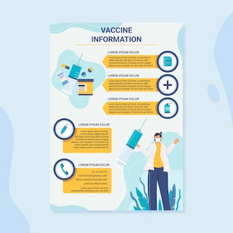 有機フラットコロナウイルスワクチン接種チラシテンプレート