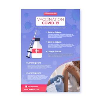 Volantino di vaccinazione contro il coronavirus piatto organico