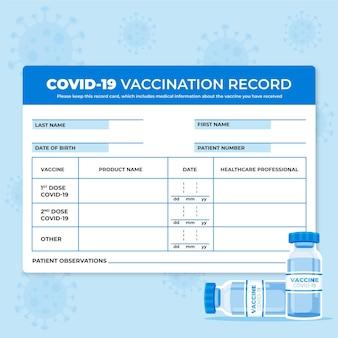 Organic flat coronavirus vaccination record card