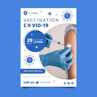 Modello di volantino verticale per la vaccinazione contro il coronavirus piatto organico