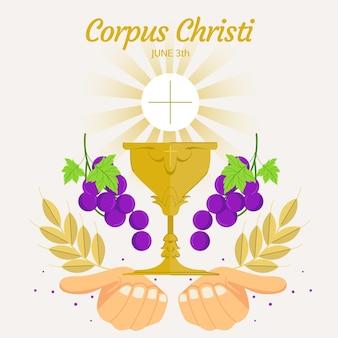 Illustrazione di corpus christi piatto organico