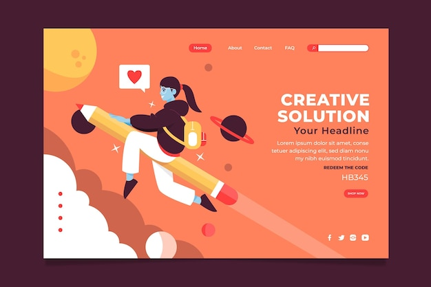 Pagina di destinazione della soluzione creativa piatta organica
