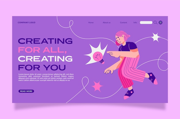Organic flat creative solutions landing page template