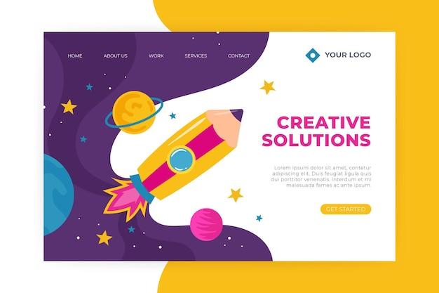 Pagina di destinazione delle soluzioni creative piatte organiche