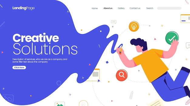 Organic flat creative solutions landing page