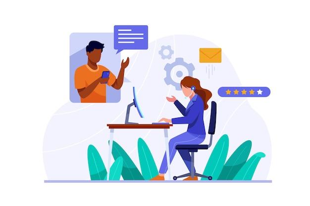 Органическая плоская иллюстрация поддержки клиентов