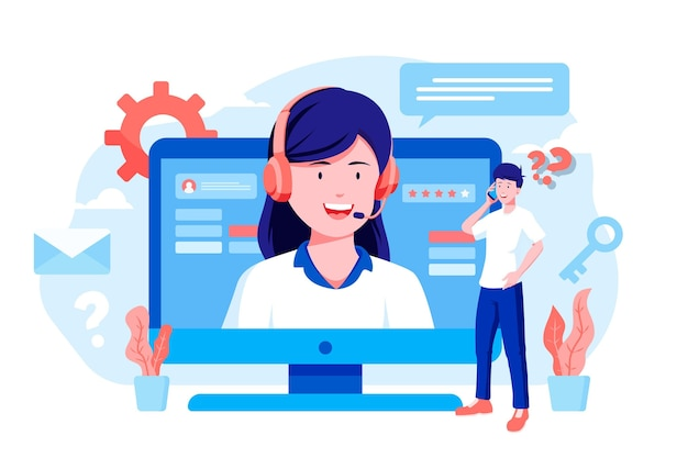 Organic flat customer support illustration