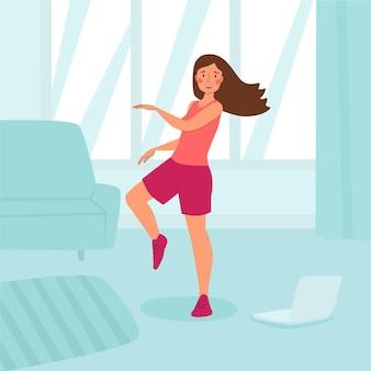Органический плоский танцевальный фитнес дома иллюстрация с людьми