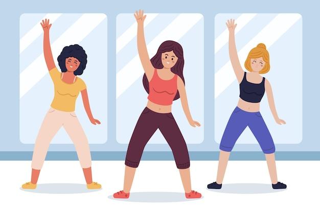 Органический плоский танец фитнес-класс иллюстрация с людьми