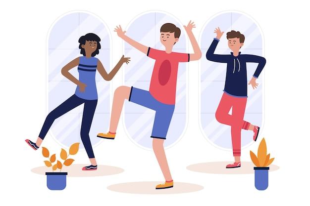 사람들과 유기 플랫 댄스 피트니스 클래스 그림