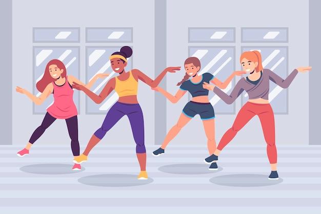 Lezione di fitness di danza piatta organica