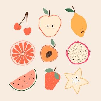 유기농 편평한 맛있는 과일 컬렉션