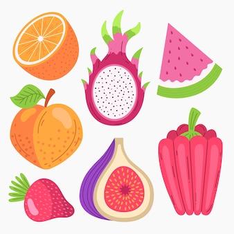 Raccolta di frutta deliziosa piatta organica