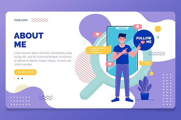 Organic flat design about me web template illustrated