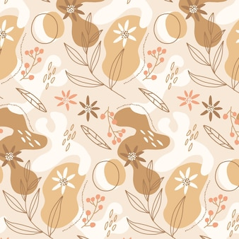 Organic flat design abstract floral pattern Free Vector