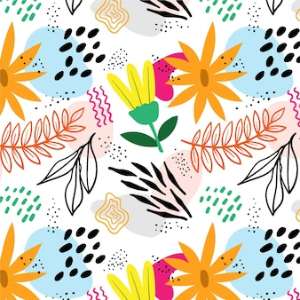 Organic flat design abstract floral pattern