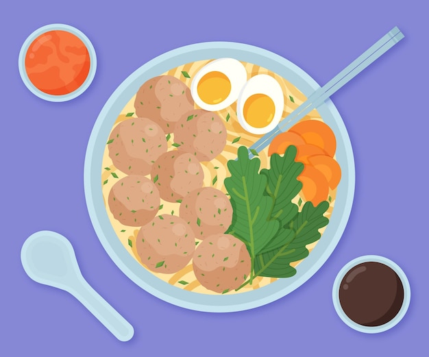 Organic flat design bakso in a bowl