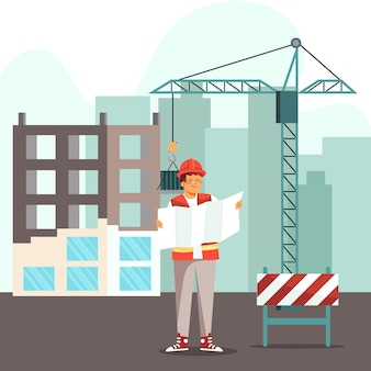 Organic flat design engineer working on construction