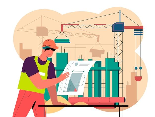 Ingegneri organici di design piatto che lavorano alla costruzione