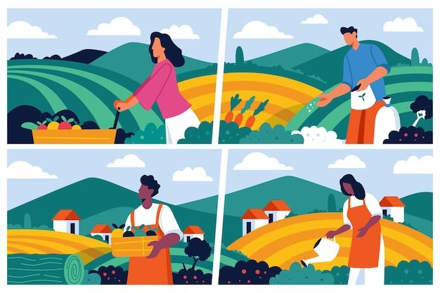 유기 평면 디자인 농업 직업 컬렉션
