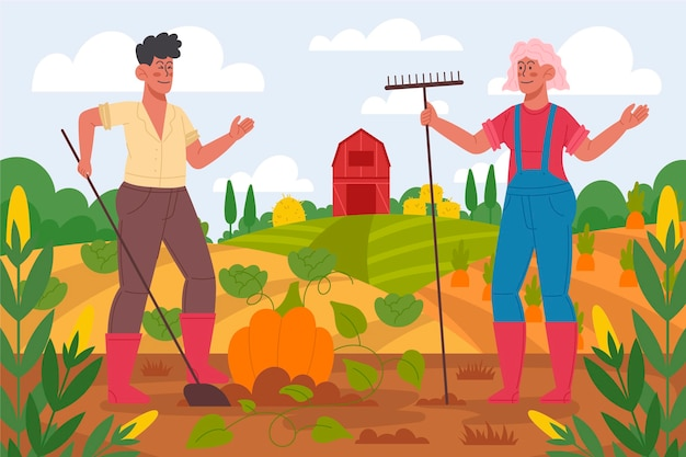 Organic flat design farming profession