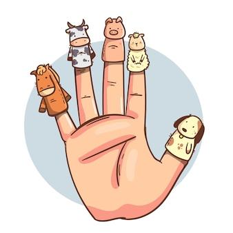 유기 평면 디자인 손가락 인형 세트