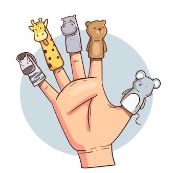 Organic flat design finger puppet set