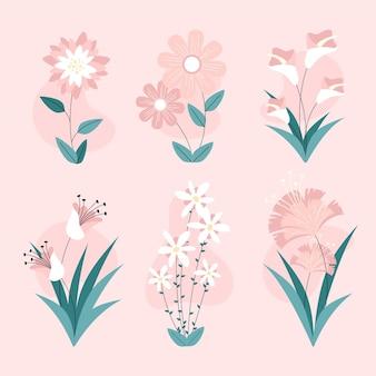 Collezione di fiori dal design piatto organico