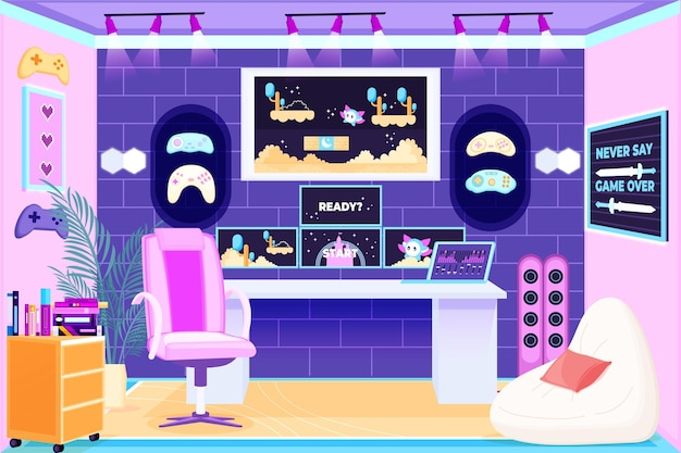 Organic flat design gamer room