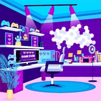 Игровая комната с органическим плоским дизайном