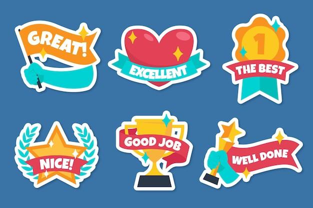 Organic flat design great job stickers pack