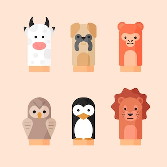 Organic flat design hand puppets collection