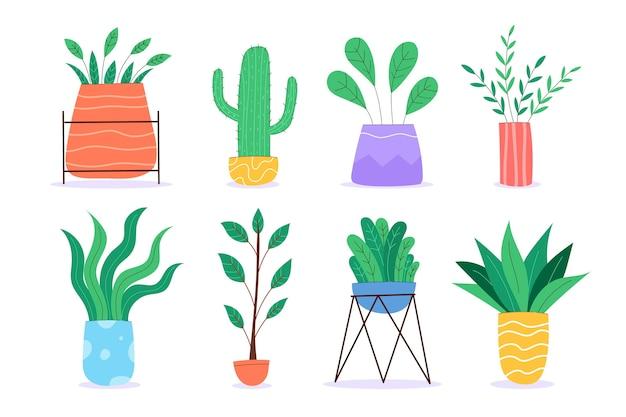 유기 평면 디자인 관엽 식물 컬렉션