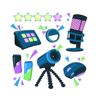 Органический плоский дизайн элементов концепции игрового стримера со звездами рейтинга