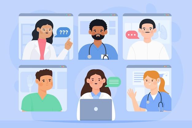 Медицинская онлайн-конференция по органическому плоскому дизайну Premium векторы