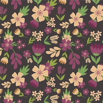Organic flat design pressed flowers pattern