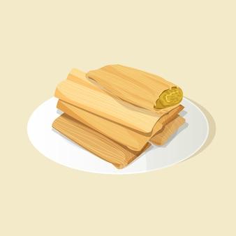 Органические тамале с плоским дизайном