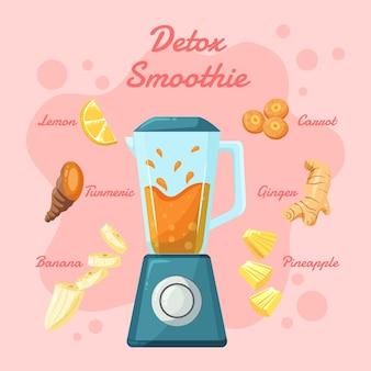Organic flat detox smoothie in blender glass