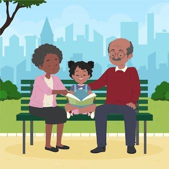 Organic flat dia de los abuelos illustration