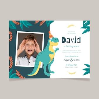 Organic flat dinosaur birthday invitation template