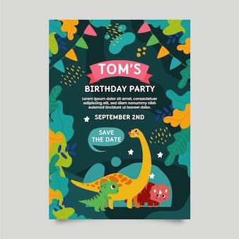 Шаблон приглашения на день рождения органического плоского динозавра