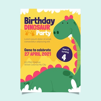 Organic flat dinosaur birthday invitation