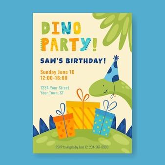 Приглашение на день рождения органического плоского динозавра