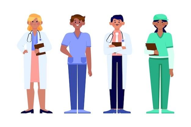 有機フラット医師と看護師のイラスト